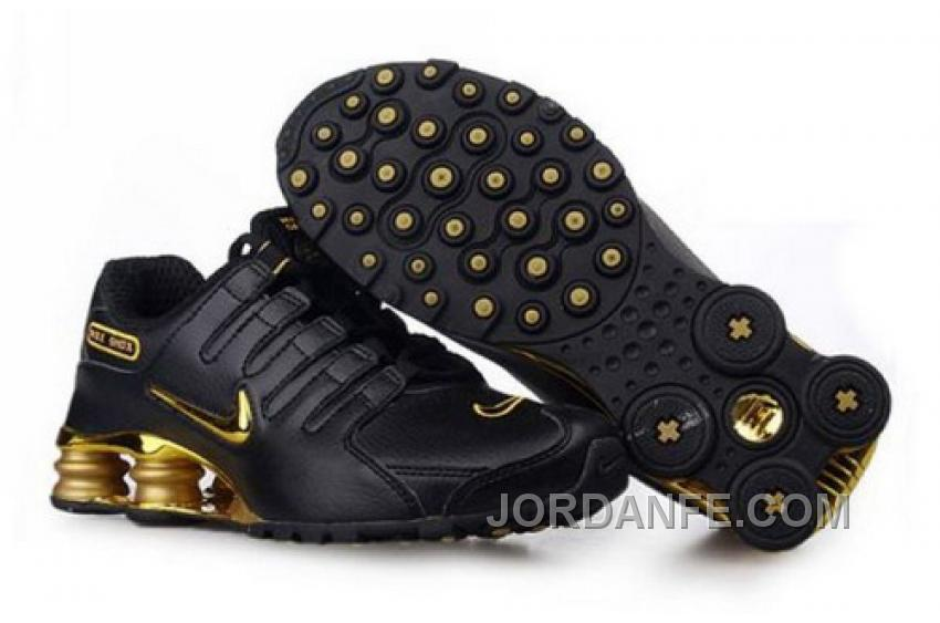 huge selection of 22769 a5a9c Men s Nike Shox NZ Shoes Black Gold For Sale