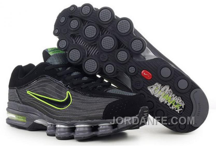 low priced 0903e 78c2a Men s Nike Air Max Shox R4 Shoes Black Dark Grey Green Cheap To Buy