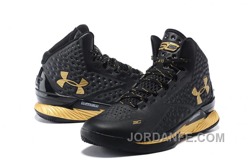 c6b6b5a16d27 Under Armour UA Curry One Black Gold Shoes For Sale New Arrival ...