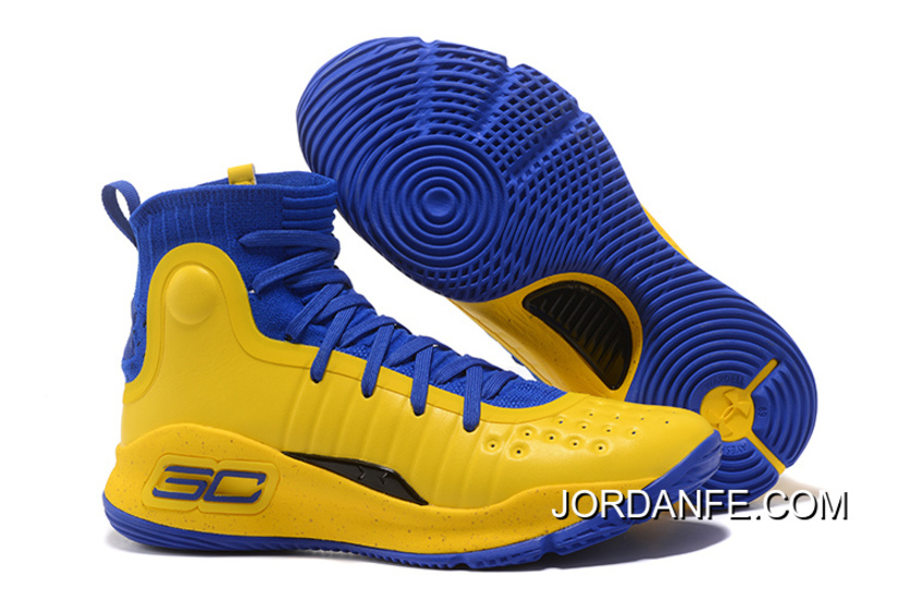 a41f489482fc6 Under Armour Curry 4 Basketball Shoes Yellow Blue Lastest