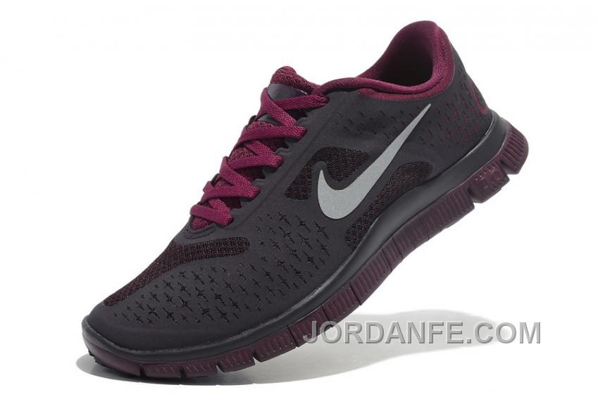 promo code 1d6e7 21d01 Womens Nike Free 4.0 V2 Running Shoes Dark Grey Purple Red Discount